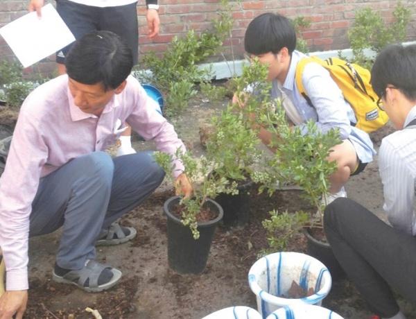 농어민명예교사가 진행하는 농작물 가꾸기 수업을 통해 학생들은 공존, 협동의 가치를 배운다. ⓒ충남인터넷고등학교