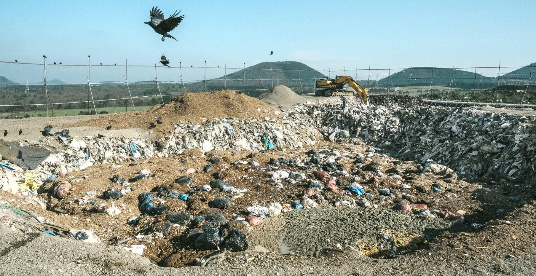제주 봉개동 쓰레기 매립장에서 까마귀가 날아오르고 있다. 이곳 매립장은 이미 포화 상태로 1,800〜2,000t 가량의 쓰레기가 처리되지 못한 채 쌓여 있다.
