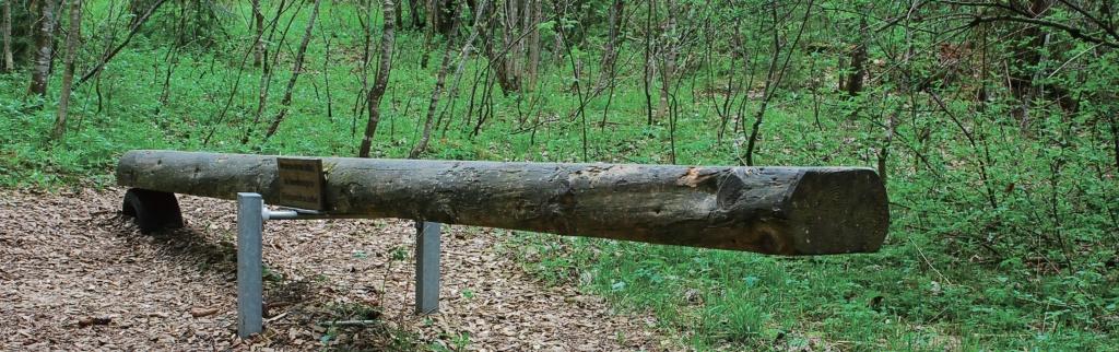 """괴리스리트 마을의 자연 산책길에 있는 나무 시소. """"자연환경과 균형을 유지하라""""는 문구가 쓰여있다."""