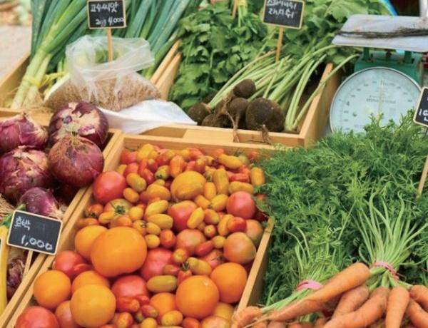 플라스틱이 아닌 바구니에 소담히 담긴 채소들. 농부시장 마르쉐@
