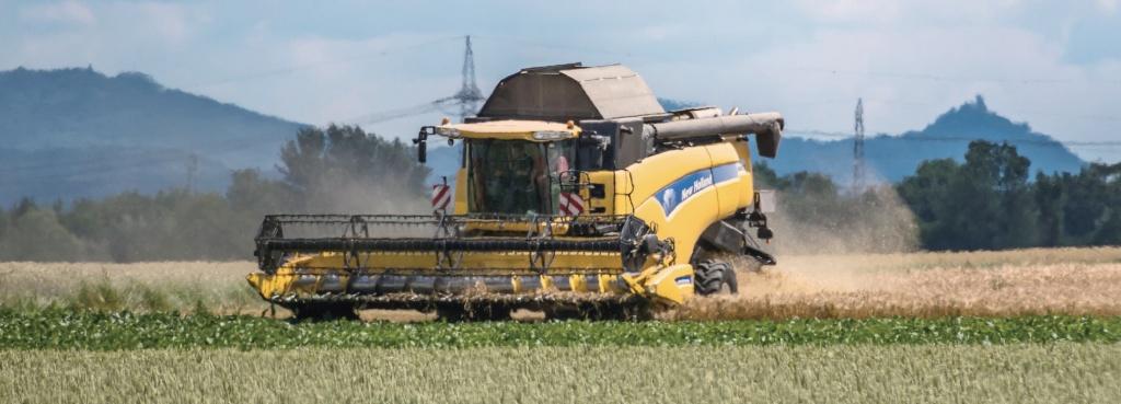 트랙터로 밀을 수확하는 독일의 한 농장.