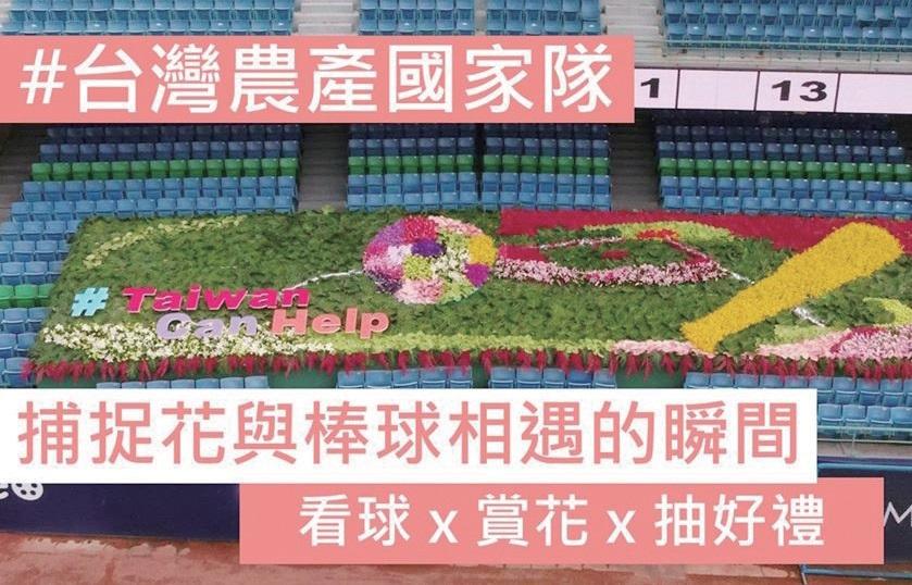 대향식육협회의 대만농산국가대 캠페인. 무관중으로 개막한 대만리그 프로야구 구장의 관중석을 꽃으로 장식했다. 대만농산국가대 공식 페이스북 화면 캡처