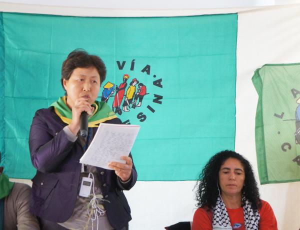 윤금순 씨는 국제농민단체 비아 캄페시나에서 활동하면서 국내 여성농민의 모범적 활동을 세계에 알렸다. ⓒ전국여성농민회총연합